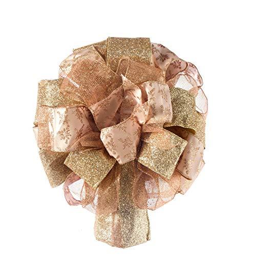 TBD Rose Gold Christmas Tree Topper Bow, Glitter Satin Mesh Streamer, Exquisite Handmade, as for Your Christmas