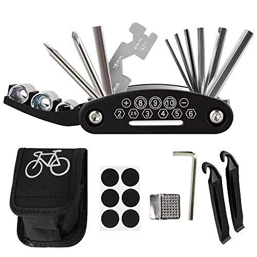 TWSTYFAL Multiherramienta para bicicleta 16 en 1 multifunción, kit de reparación para reparación de bicicletas, juego de herramientas para bicicleta con desmontador de neumáticos