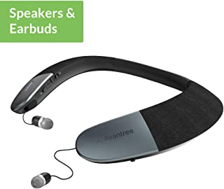 Avantree Torus Wearable Wireless Speaker, Bluetooth 5.0, aptX HD, Low Latency, Personal Neckband Speakers with Retractable Earbuds, Superb Audio Quality, 3D Surround Stereo for Music TV Calls - (NB05)