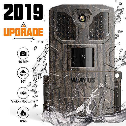 WiMiUS Cámara de Caza 16MP 1080P, Camara Caza con 940nm 32pcs Luz Invisible, Camara Caza Nocturna Velocidad de Disparo de 0.5s de hasta 20m, Impermeable Ip66 para Vigilancia, Cazar