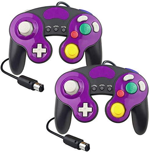 YCCTEAM Lote de 2 Manettes Filaires pour Gamecube Switch GC Wii Console Gamepad Joypad (Violet)