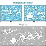 ASANMU Fensterbilder Weihnachten Fenstersticker 4 Stücke 43 * 30 cm Wiederverwendbare Winterliche Fenster Aufkleber Wandtattoo PVC-Sticker Schneekristallen und Schneesternen (Weihnachtshirsch) - 6
