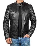 Decrum Mens Black Leather Jacket Men - Mens Leather Jacket | [1100124] Black Dodge, L by
