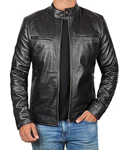 Decrum Mens Black Leather Jacket Men - Mens Leather Jacket | [1100124] Black Dodge, L