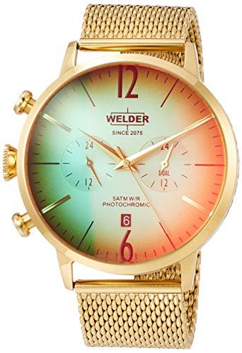 Welder Breezy Herren-Armbanduhr 45mm Armband Edelstahl Gold Batterie WWRC402