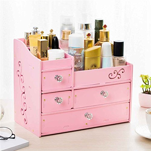 SXDHOCDZ Boîte de Rangement cosmétique ménage tiroir sculpté Multifonctionnel Organisateur de Bureau boîtes de Rangement (32 * 19 * 27 cm) (Color : Pink)