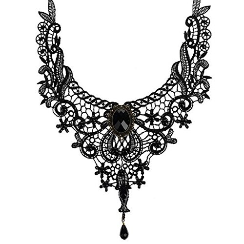 Ouinne Gothic Collar Necklace Black Jewel Lace Tattoo Choker Chain Lolita Bead Pendant for Wedding Party
