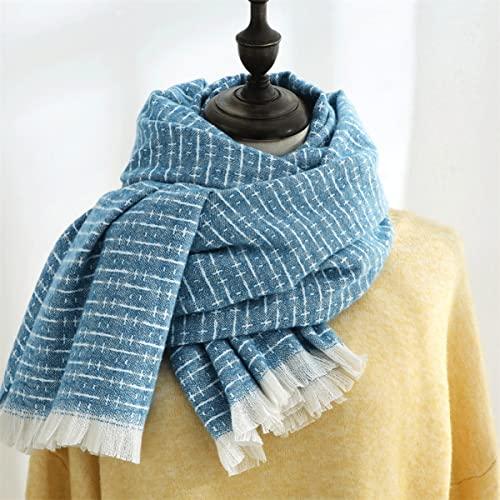 FJZAD Scarf Unisex Winter Fresh and Sweet Scarf Shawl Light Color Striped Plaid Fashion Scarf (Color : Blue)