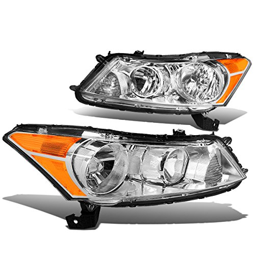 Pair of Chrome Housing Amber Corner Headlights Lamps Replacement for Honda Accord 8th Gen CP2/CP3 Sedan 08-12