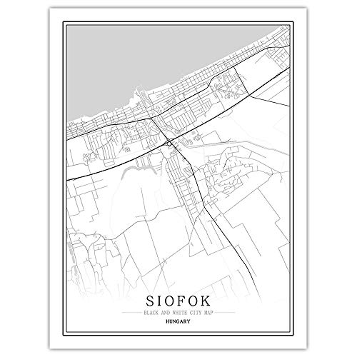 AGAGRG Prints Canvas,Modern Black White Map Europe Posters Hungary Siofok City Non-Woven Mural 3D Picture Vertical Wall Painting Art,Bedroom Home Decorations Office Artwork,40X50Cm No Frame