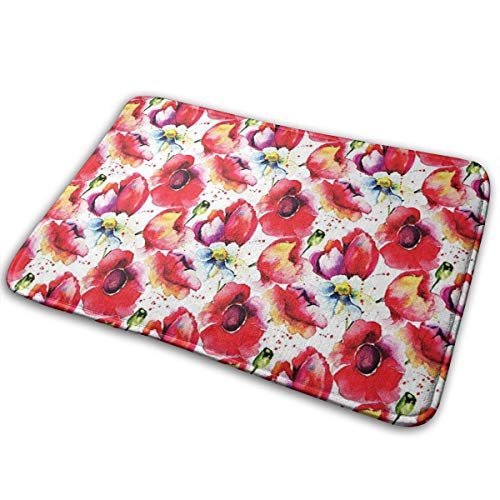 Hat&C Carpet 15.7' X 23.5' Poppy Decor Colorful Combined Mixed Poppy Flower Petals Pattern Spring Garden Theme Paint Effect Style Blue Red Room Bathroom Rug Non-Slip Resistant Door Indoor Mat