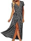ACHIOOWA Mujer Vestido Elegante Casual Playa Bohemio Dress Lunares Cuello V Manga Corta Escote Fiesta Cóctel Falda Larga Negro M