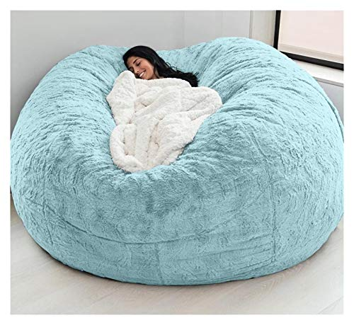 Withou 7-foot Giant Fur Bean Bag Chair, Large Round Soft And Fluffy Artificial Fur Bean Bag For Living Room Furniture, Lazy Sofa Bed Cover, thick, soft and non-slip (Color : Blue)