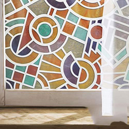 Gekleurde niet-klevende raamfolie, decoratieve statische ondoorzichtige film privacy zonwering verduisterende raamsticker voor slaapkamer woonkamer glas