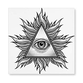 Unframed Canvas Prints Triangle Shape with Wavy And All Seeing Eye Tattoo Style Masonic Photo Print Wall Art Hanging Decor for Living Room Kitchen Ready to Hang 8  × 8