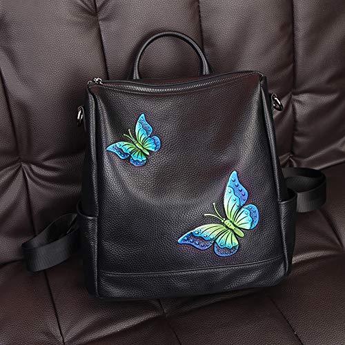 TYXL backpack Butterfly Embroidered Women's Backpack Shoulder Bag Top Layer Leather Joker Backpack Outdoor Travel Backpack (Color : Blue)