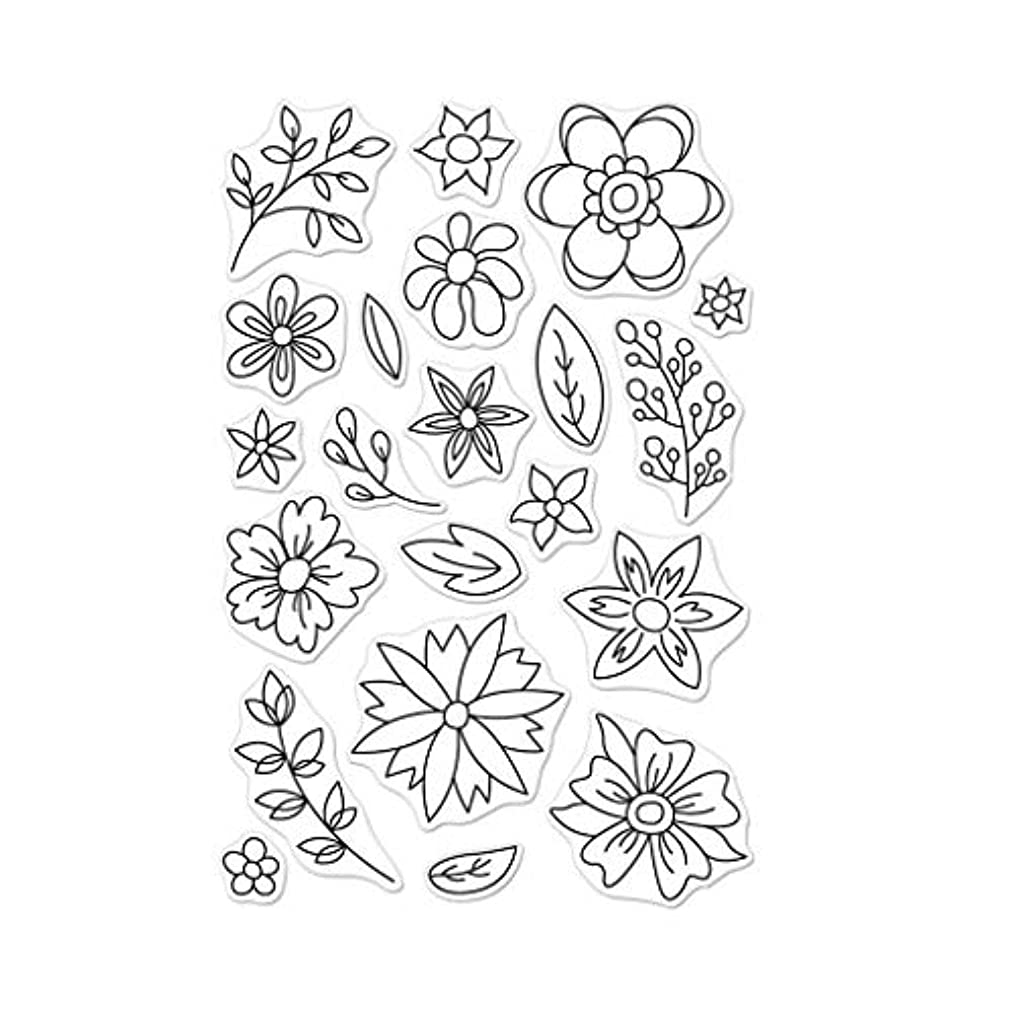 Hero Arts CM256 Clear Stamp Set, Flowers for Coloring