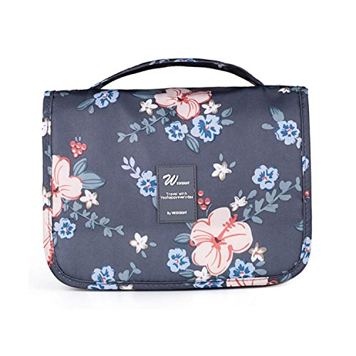 Toiletry Bag Large,Mossio Super Light Cosmetic Case Packing Organizers Hygiene Bag Dark Grey Flower