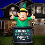 Holidayana 9ft St Patricks Day Inflatable Leprechaun Pot of Gold - Saint Patty's Leprechaun Pot of Gold Blow Up Yard Decoration, Includes Built-in Bulbs, Tie-Down Points, and Powerful Built-in Fan