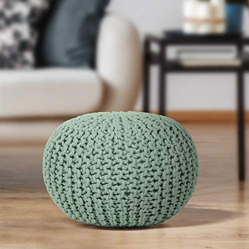 EHC Cotton Round Handmade Double Knitted Foot Stool with Braided Cushion Pouffe - Sage