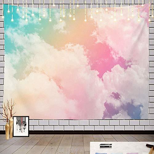 Tapiz con impresión 3D, diseño de nubes de sol en colores pastel arcoíris rosa azul amarillo blanco alfombra de picnic hippie Tapiz decoración de pared para dormitorio sala de estar decoración regalo