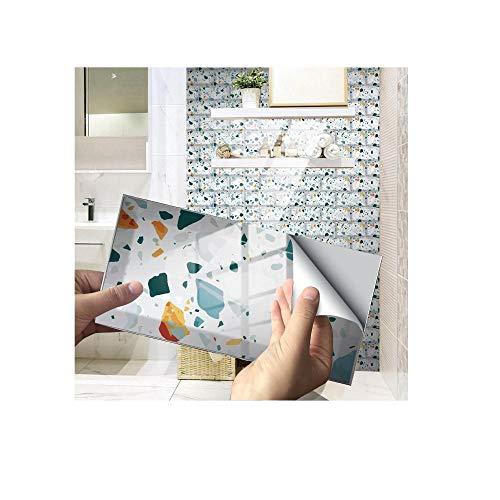 Pegatinas para azulejos, paneles de pared 3D, pegatinas de azulejos de cristal, decoración adhesivas, ideal para sala de estar, cocina, baño, 24 unidades
