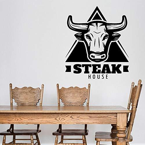 Letrero logo calcomanías de pared cabeza de ganado carne de res fresca puertas y ventanas pegatinas de vinilo restaurante steak house cocina interior arte decorativo