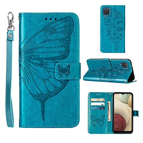 A12 Phone Case Wallet,for Galaxy A12 Case,[Kickstand][Wrist Strap][Card Holder Slots] Butterfly Floral Embossed PU Leather Flip Protective Cover for Samsung A12 Case (Blue)
