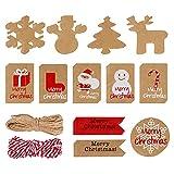 120 Piezas Etiquetas de regalo Navidad Papel Kraft Etiquetas con 66 FT Yute Twine String, Etiquetas de Regalos 12 diseños Christma imprimibles para bricolaje Navidad Holiday Wrap de regalo Bolsas
