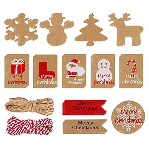 120 Piezas Etiquetas de regalo Navidad Papel Kraft Etiquetas con 66 FT Yute Twine String, Etiquetas de Regalos 12 diseños...