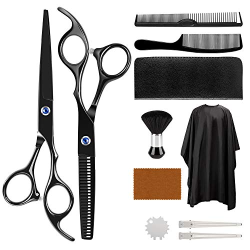 Hair Cutting Scissors Kit, ULG 11Pcs Hair Cutting Scissors Set Professional, Haircut Kit with Barber Cape, Barber Scissors, Hair Thinning Shears, Hair Cutting Kit for Barbers, Home Use