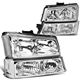 DNA Motoring HL-OH-CS03-4P-CH-CL1 Chrome Housing Headlights Compatible with 2003-2006 Chevy Silverado/Avalanche Fit Models without Factory Cladding