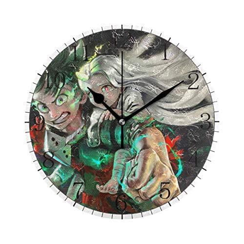 yongxing My-Hero Academia - Reloj de pared de estilo redondo, silencioso, sin cuchillo, arte decorativo a pilas (10 pulgadas)