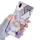 Robinsoni Case Compatible with Huawei P20 Cover Silicone TPU Case Mirror Reflection Marble Case with Ring...