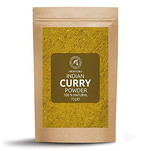Curry en Polvo - Condimento Indio para Carne de Pollo y Vegetales - Especias Indias - Vegetariano - Vegano - Cocina India - Polvo de Curry de Madrás - Especias y Condimentos en Polvo - 70g