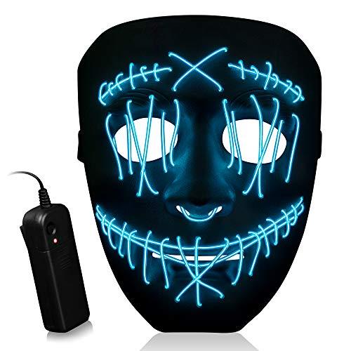 SZILBZ LED Purge Maske, Halloween LED Mask mit 3 Blitzmodi für Party Halloween Fasching Karneval Kostüm Cosplay Dekoration Blau