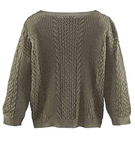 Stefanel Marken-Leinen-Pullover khaki Größe S