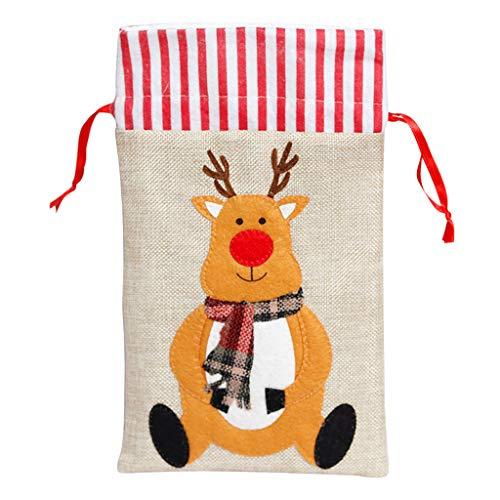 GROOMY Bolsa de Regalo, NOVEDADES Bolsa de Dulces navideños Bolsas de Regalo de Lona ecológicas Bolsas de Regalo de Lona ecológica Santa Deer Elk Ride Año Nuevo Xm-C