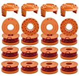 WA0010 String Trimmer Spool Line 0.065'10ft Compatible with Worx WA0010 WA0004 WG151 WG154 WG155 WG160 WG163 WG170 WG175 WG180 Weed Wacker Eater String with WA6531 GT Spool Cover (16 Spool+4 Cap)