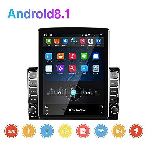 Podofo Android 8.1 Autoradio -2 Din Auto Multimedia-Player mit 9,7''Vertikalem Bildschirm HD 1080P Auto MP5-Player mit Bluetooth WiFi GPS FM-Radioempfänger Unterstützung Rückfahrkamera