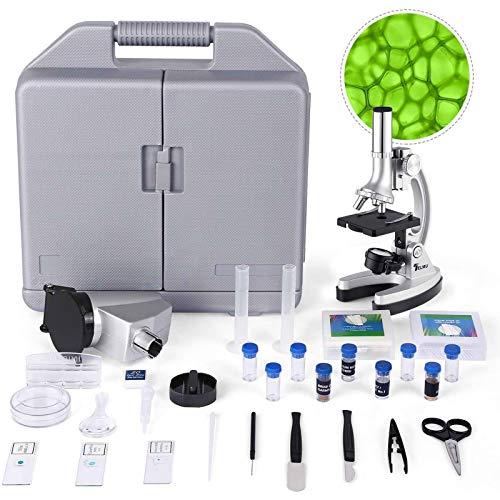 TELMU Microscopio - Ingrandimento di 300X-600X-1200X, Microscopio Bambini con 70+ pezzi kit di Accessori, con Braccio e Base in Metallo, per l'Educazione della Inizia Bambina, con la Valigia