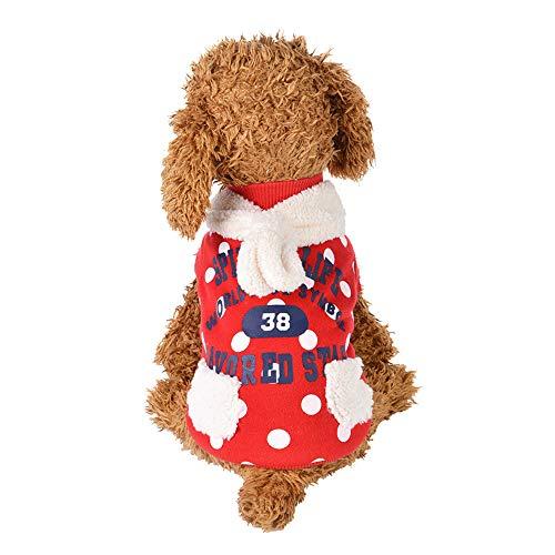 BulzEU - Hond Puppy Kleding Kleine/Medium Huisdier - Casual Hond Sweater Jumpers Kleding Kleding - Brieven Print Punt Patroon Harige Sjaal Decor Puppies Bovenkleding voor Teddy, Chihuahua, S, Rood