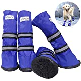 URBEST Dog Shoes, Waterproof Dog Boots for Medium and Large Dogs, Warm Lining Nonslip Rubber Sole for Snow Winter (M, Blue)