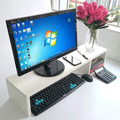Soporte de monitor de madera Elevador ajustable 2 niveles Organizador multifuncional de ahorro de espacio Almacenamiento Soporte de pantalla de computadora para impresora de oficina-blanco