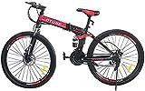 Oture Folding Bicycle Men Women Unisex MTB 21 Speed 26'' Full Suspension Mountain Bike