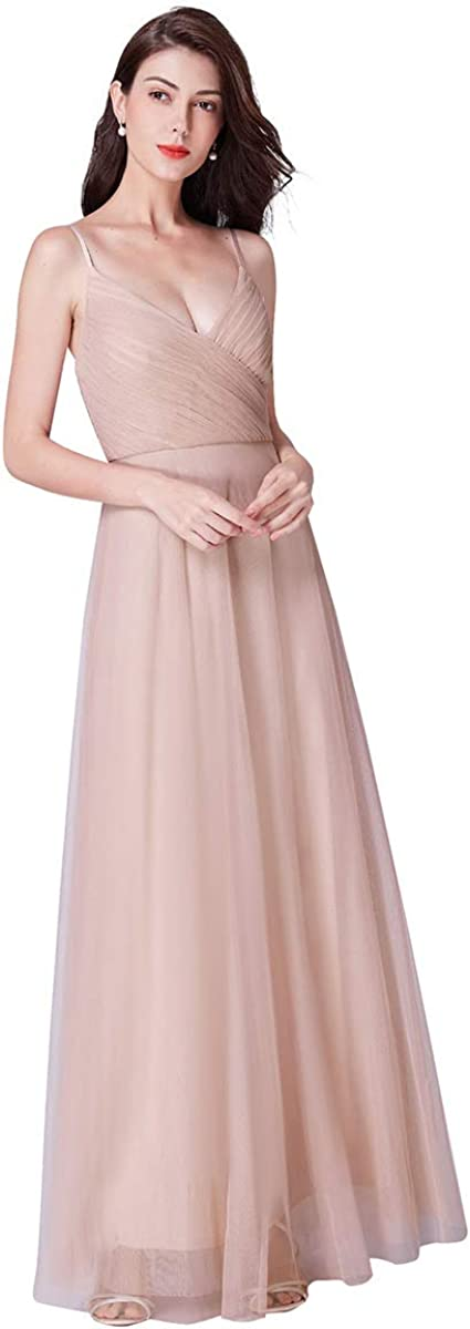 Ever-Pretty SALENEW very popular! Women's V-Neck Spaghetti Wedding Party Spring new work one after another Straps Brides