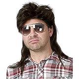 Peluca de hombre negro Mullet de los 80 Peluca de salmonete para hombre Peluca de pelo sintético largo Cosplay Fiesta de disfraces de Halloween