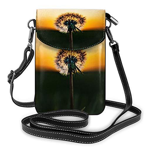 Generic Pusteblume im Sonnenuntergang Kleine Umhängetasche, Handtasche aus PU-Leder mit verstellbarem Riemen für den Alltag