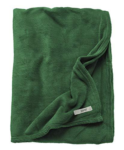 ESPRIT Mellows Sofadecke grün • weiche Kuscheldecke • Tagesdecke 150x200 cm • Leicht zu pflegene Couchdecke • 100prozent Polyester