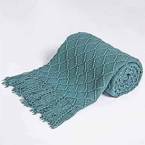 Manta de punto en el sofá cama colcha súper suave para cochecito de bebé para niños Inbakeren Stuff Manta a cuadros (color: verde agua, tamaño: 150 cm x 220 cm)